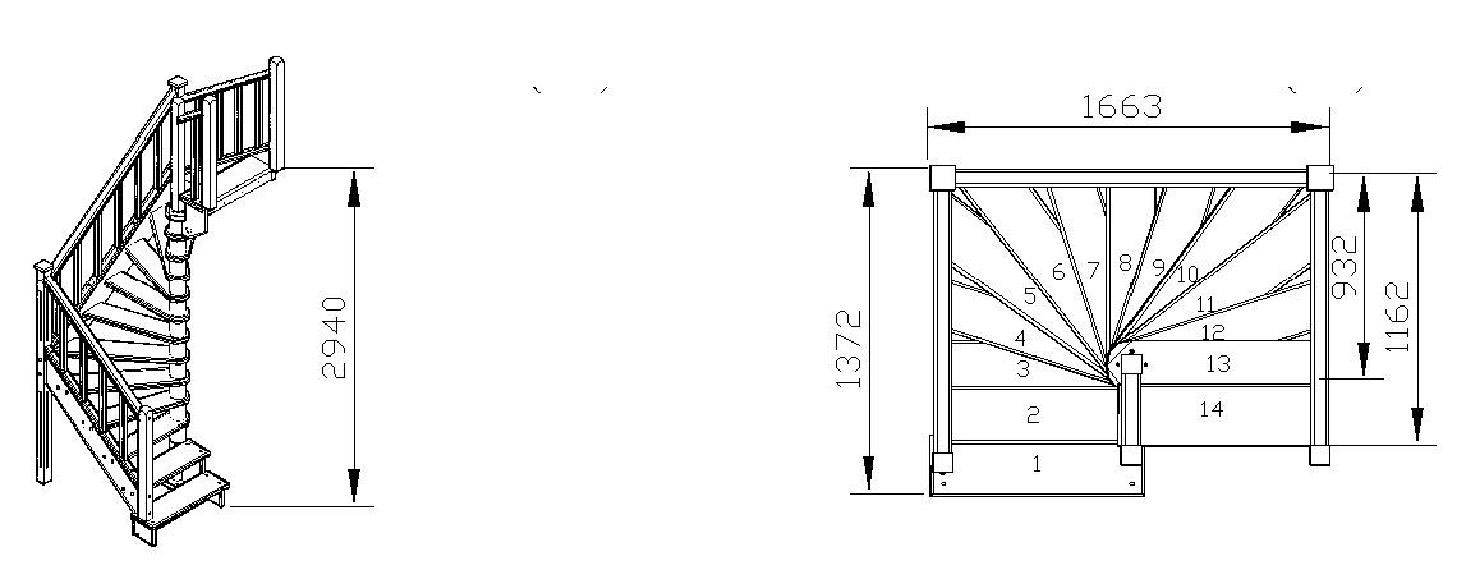Деревянная лестница с поворотом 180 градусов