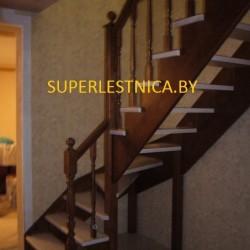 заказать деревянные лестницы с забежными ступенями к-001
